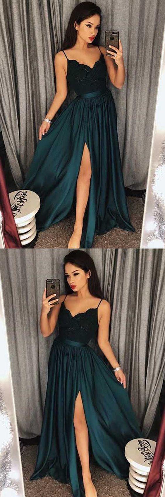 Modest Ballkleider Lange, Dunkelgrüne Abendkleider 2019, A-Linie Abendkleider mit Schlitz