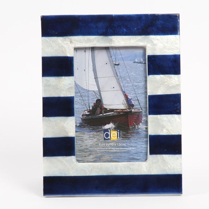 "DEI Latitude 38 4"" x 6"" Nautical Stripe Capiz Picture Frame 