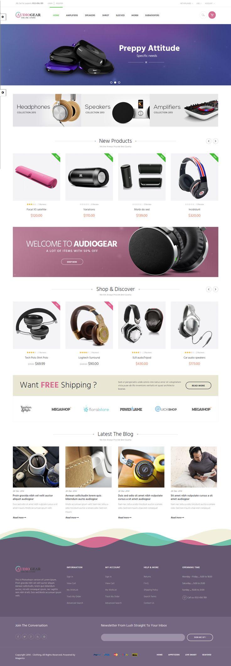 New beautiful responsive Magento theme 2015 #audio #electronics #store