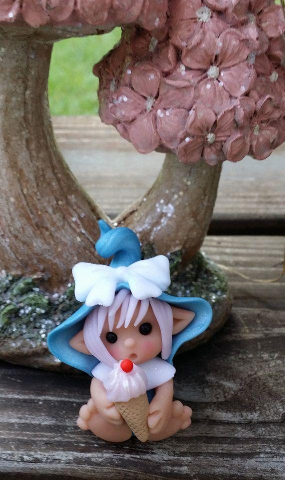 Elf with her Ice Cream Polymer Clay Figurine