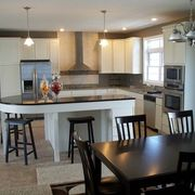 Kitchen with Avenue maple chiffon beadboard cabinets by Rochester Homes | www.rochesterhomesinc.com