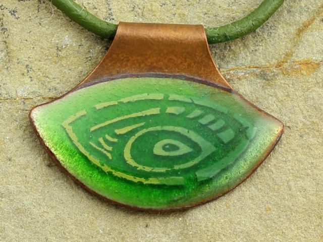 Handmade green enamel necklace by intuitashop on Etsy