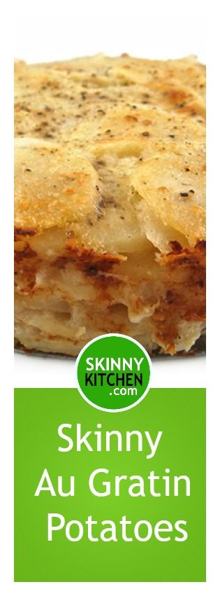Outrageously Delicious, Skinny Au Gratin Potatoes! So great to serve with turkey, ham, chicken, beef or pork. Each serving, 177 calories, 2g & 5 SmartPoints. #glutenfree http://www.skinnykitchen.com/recipes/outrageously-delicious-skinny-au-gratin-potatoes/