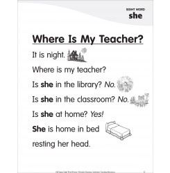 Where Is My Teacher? (Sight Word 'she'): Super Sight Words Poem: Words Poems, Lc Poems, Kindergarten Poems, Teacher, Students Poems
