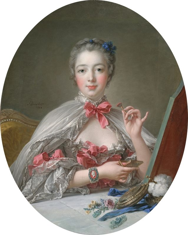 François Boucher, Jeanne Antoinette Poisson, Marquise de Pompadour, 1750, with later additions oil on canvas, sight size: 81.2 x 64.9 cm (31 15/16 x 25 9/16 in.), framed: 99.8 x 84.5 cm (39 5/16 x 33 1/4 in.). Harvard Art Museums/Fogg Museum, Bequest of Charles E. Dunlap Imaging Department © President and Fellows of Harvard College