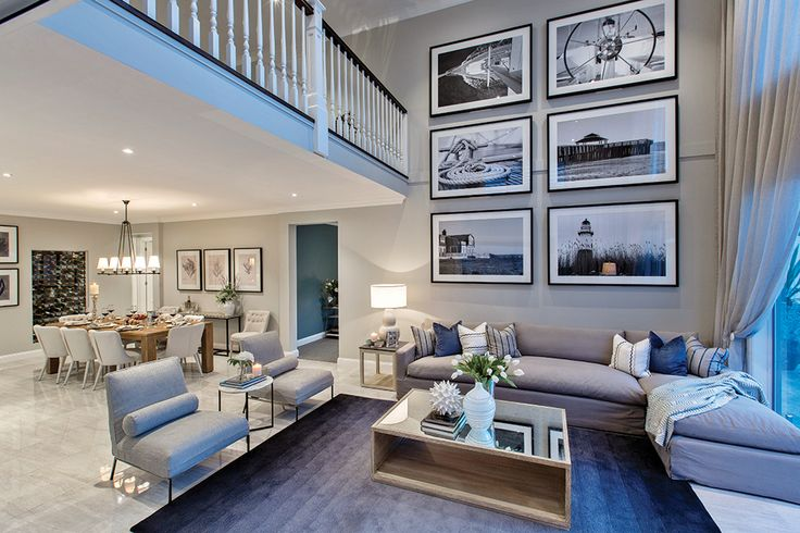 Soaring double storey ceiling void in the Astor Grange with a Classic Hamptons World of Style.