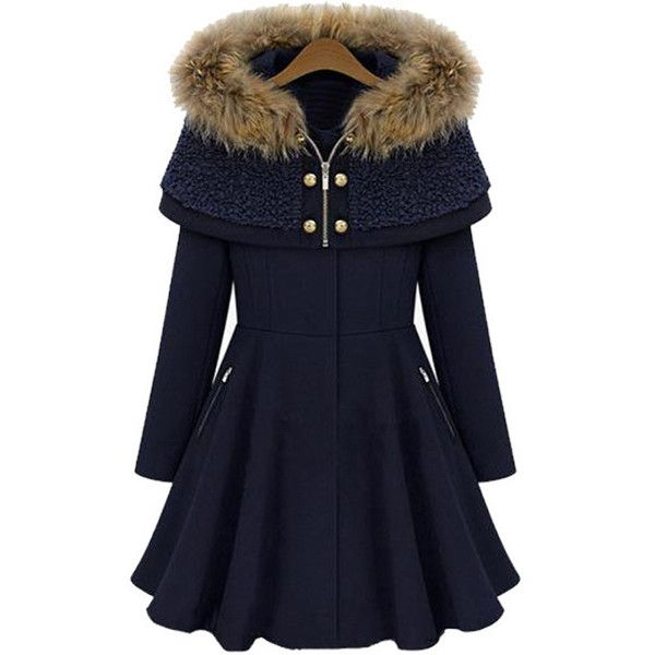 Dark Blue Solid Color Longline Cape Style Hooded Wool Coat (£31) ❤ liked on Polyvore featuring outerwear, coats, jackets, casacos, coats & jackets, dark blue cape, blue cape, zip coat, cape coat and hooded coat