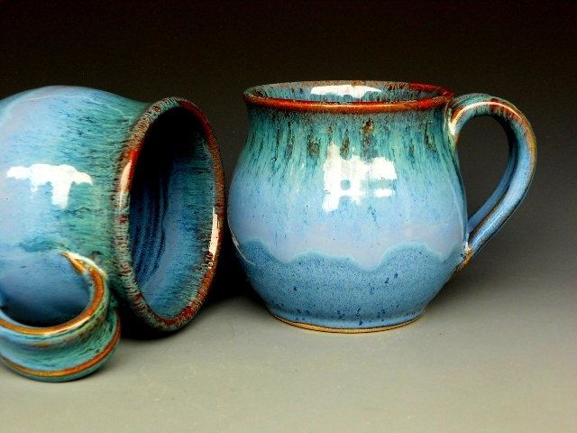 Blue Mug  Ceramic Coffee Mug Round by darshanpottery on Etsy, $20.00