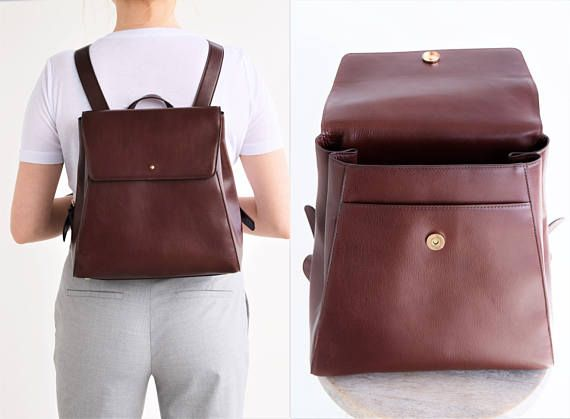 Mini backpack leather  Small leather backpack  Brown