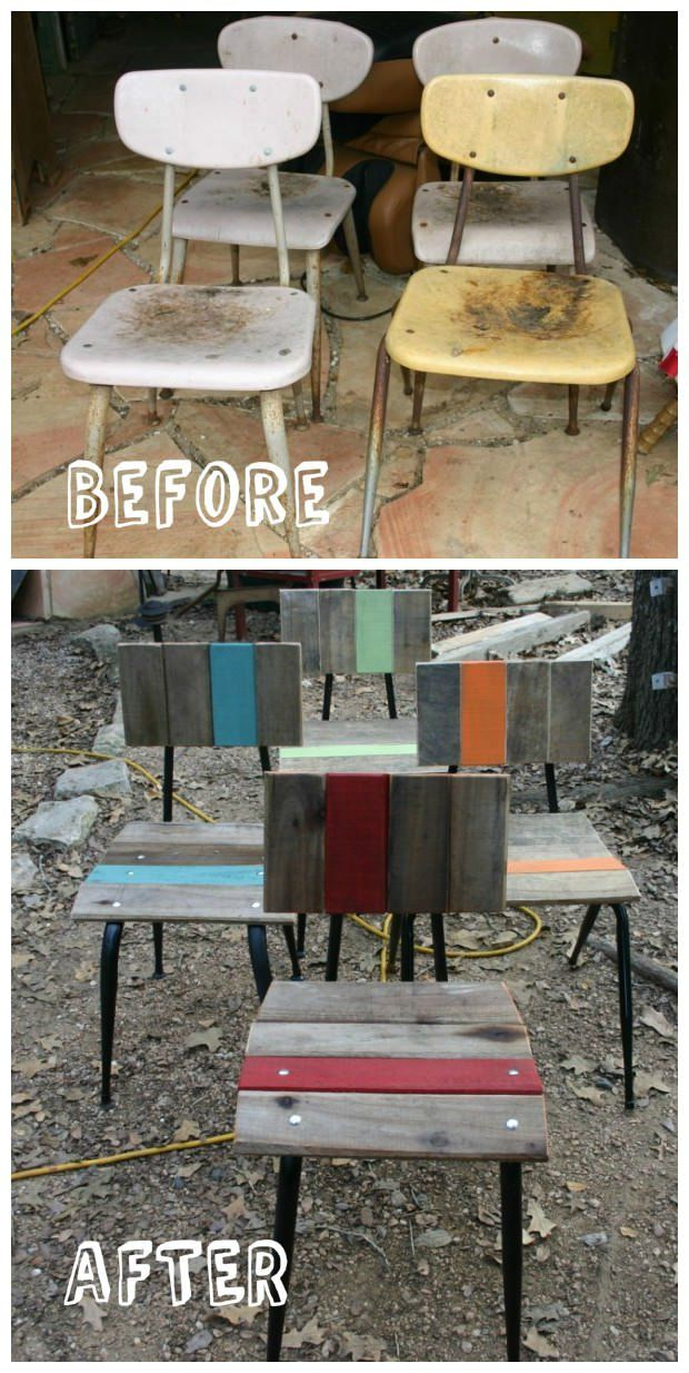"""We just finished repurposing these pallet chairs. You can see more of our work at Artisansbydesign on FB. Our motto is """"saving the planet one board at a time""""."""
