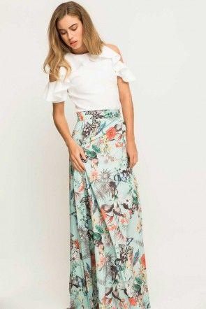 Maxi falda fluida para invitada de boda bautizo comunion evento de primavera o falda larga para invitada de boda de dia