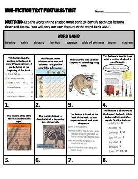 Non-fiction Text Features Assessment and Study Guide