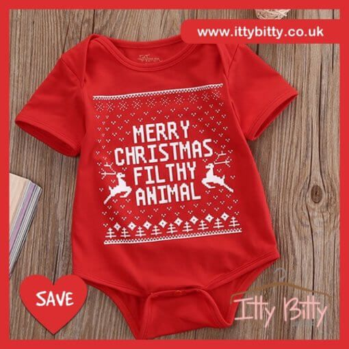 Merry Christmas Filthy Animal Romper ...while stocks last! VIEW HERE: https://www.ittybitty.co.uk/product/itty-bitty-merry-christmas-filthy-animal-romper/ PayPal or Credit/Debit card Secure website international shipping #christmas #advert #xmas #dresses