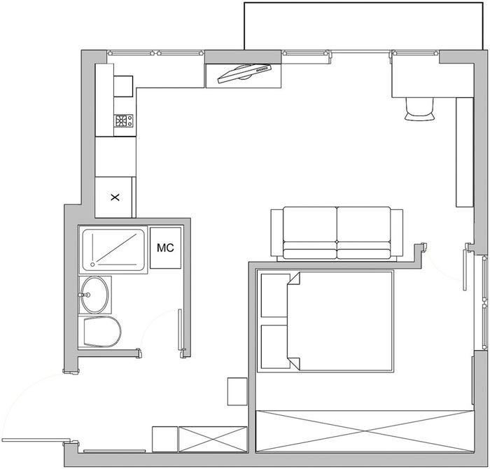 Удачная перепланировка однокомнатной квартиры на Патриарших прудах