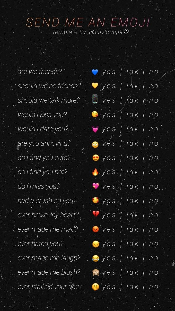 ig template send me an emoji Snapchat questions