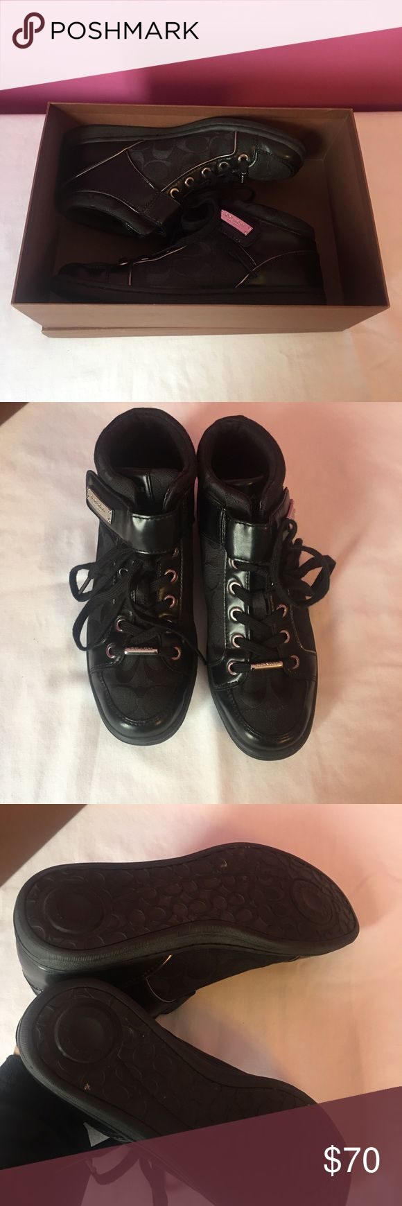 coach sneakers velcro straps & silver detailing  got them for christmas years back, only worn once pls let me know if you'd like the box they came in as well  bought at macy's Coach Shoes Sneakers