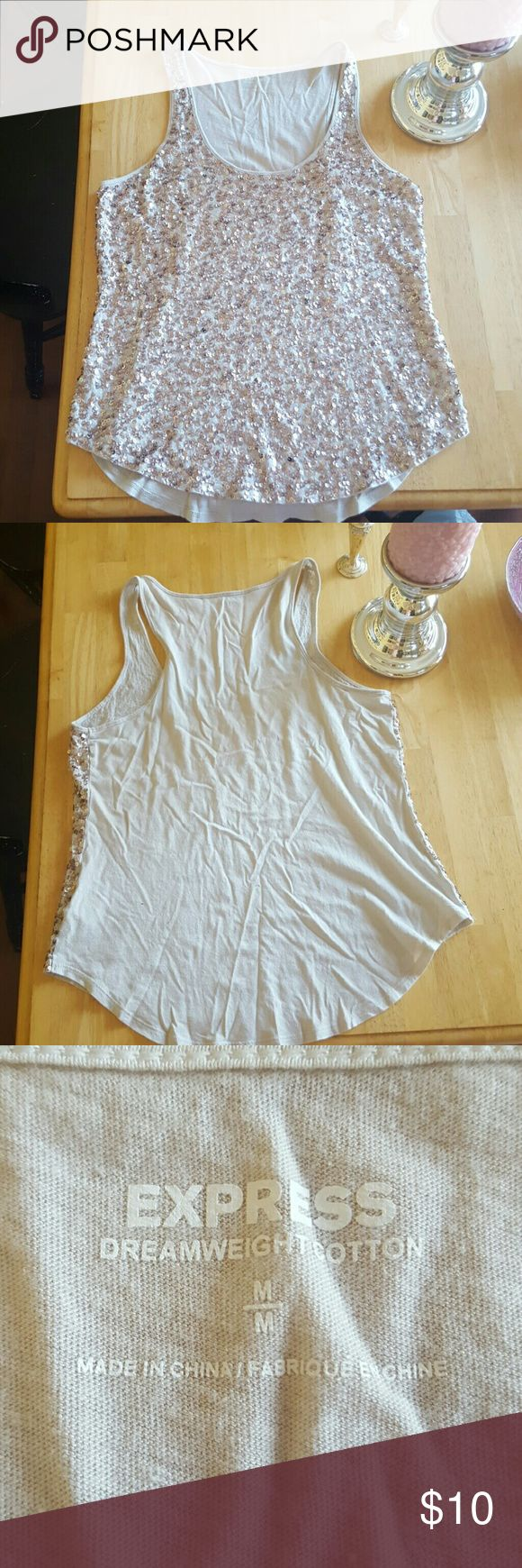 Sequin tank top Cream material with pale pink sequins - they shine almost silver. Express Tops Tank Tops