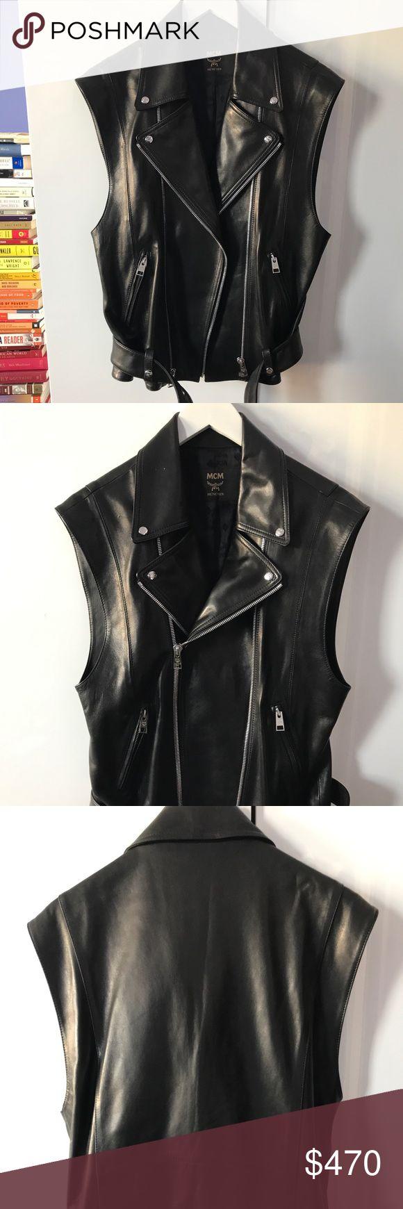 NWOT MCM Leather Vest 100% lambskin - insanely cool moto vest. 💯 authentic MCM Jackets & Coats Vests
