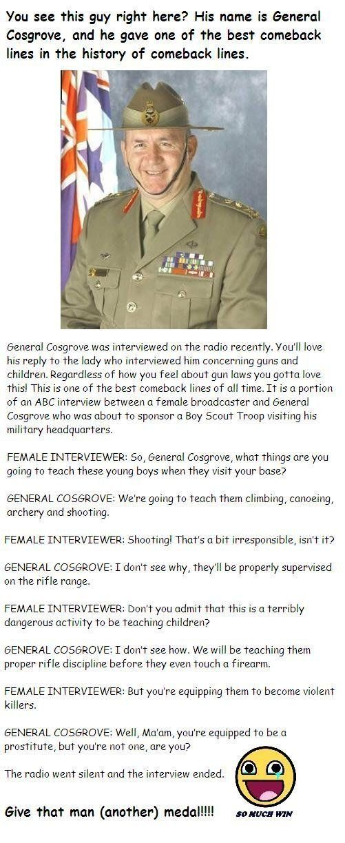 Regardless of your opinion on Gun Control, this is the BEST comeback line xD