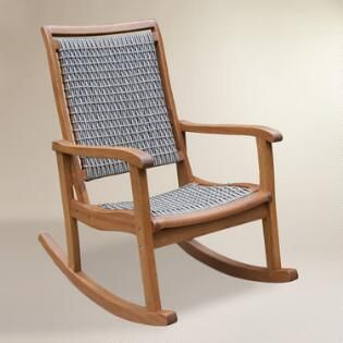 Gray All-Weather Wicker and Wood Galena Rocking Chair
