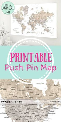 This would be so awesome to see all the places we have traveled! | Printable push pin map, custom quote, printable file for world map canvas print, map with cities, neutrals map, watercolor world map #afflink #map #printablemap #pinmap #travel