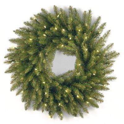 Three Posts Fir Pre-Lit Wreath With 50 Clear Lights