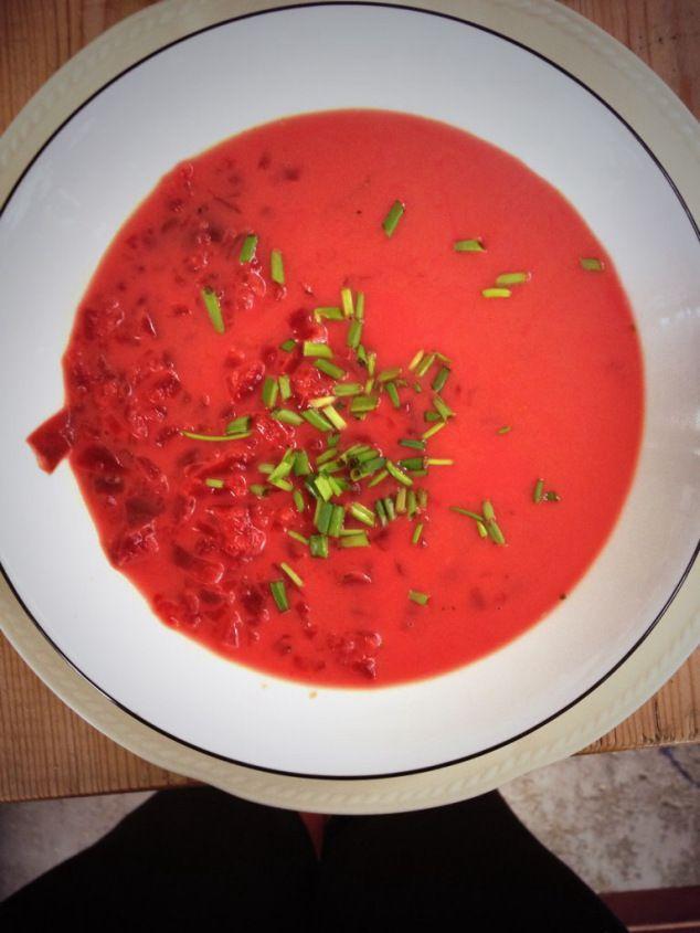 Beet Soup. Recipe: http://basilandoil.com/2014/07/25/beet-soup/