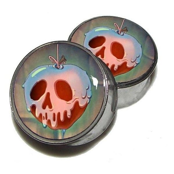 "Poisoned Apple Plugs 1 Pair (2 plugs) Sizes 8g to 2"" Made to Order ❤ liked on Polyvore featuring jewelry, earrings, plugs, gauges, piercing, earrings jewelry, stainless steel jewelry, stainless steel jewellery and stainless steel earrings"