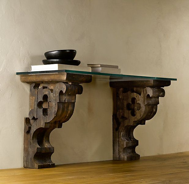 Beautiful Corbel Glass Console   Traditional   Side Tables And End Tables   Restoration  Hardware