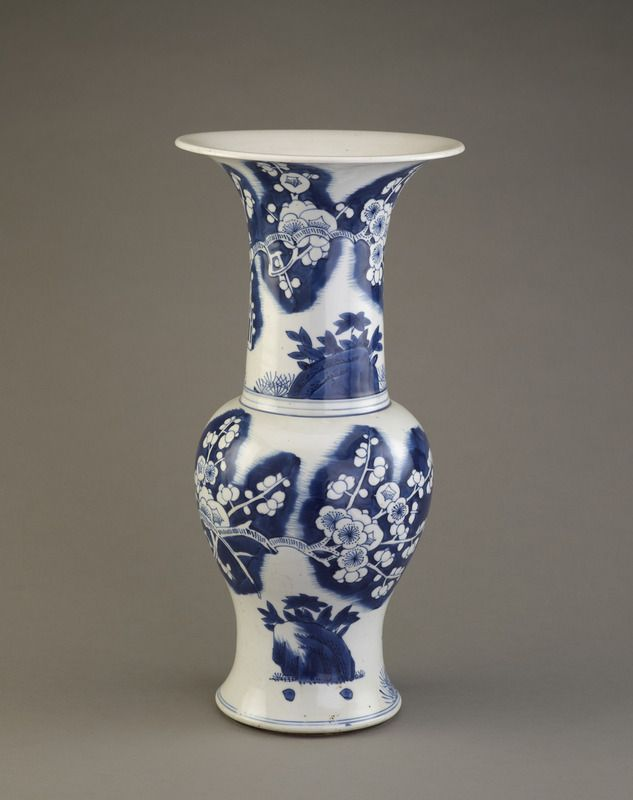 """The Peacock Room was originally intended to showcase Frederick Leyland, its first owner's extensive collection of Chinese blue-and -white porcelain. Among his 300-plus pieces were examples similar to this vessel. Known as Kangxi ware, these pots were produced in the Jingdezhen region during the Kangxi reign (1662-1722). They became so popular with Victorian consumers that the press mockingly dubbed the craze """"Chinamania."""" http://peacockroom.wayne.edu/items/show/3375 F1986.19a-b"""