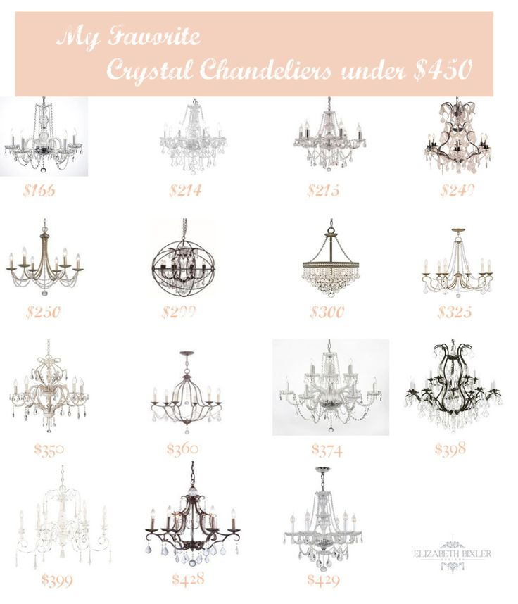 Here is a few of my favorite crystal chandeliers! The best chandeliers are ones that won't break the bank. How to make your home look expensive on a cheap! http://elizabethbixler.com/saturday-selections-favorite-crystal-chandeliers-under-450/