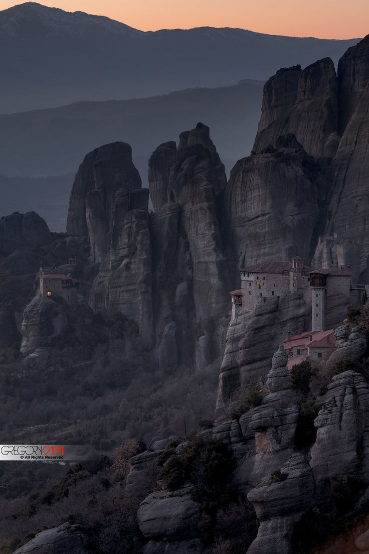 Late sunset at Meteora Greece