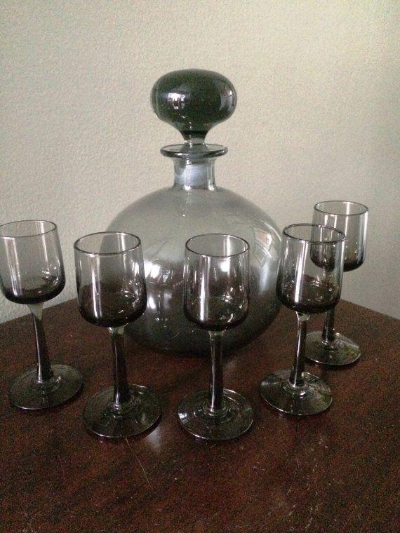 Mid-Century Modern Smoke Glass Apertif by LottieDottieVintage
