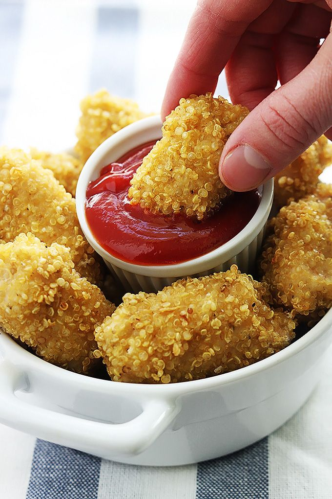 Quinoa Chicken Nuggets - VERY GOOD! A Big hit! Easy to make. Not too time consuming. Spray the pan next time.
