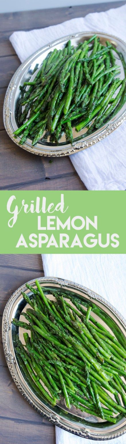 this easy grilled lemon asparagus makes the perfect springtime side dish--it requires only three ingredients and 10 minutes to prepare! | goldenbrownanddelicious.com