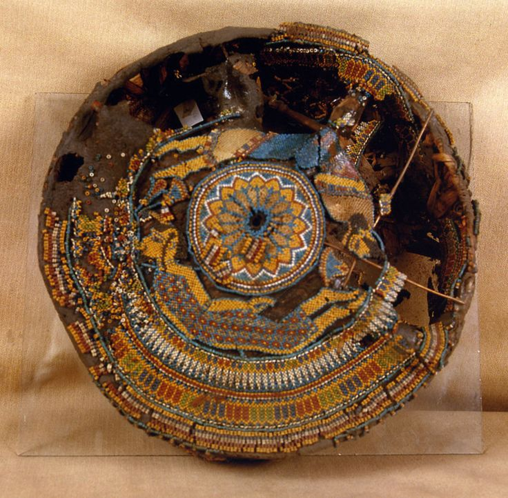 One of the beaded hassocks found in the tomb of King Tutankhamun, yielding the earliest known renderings of the human figure in beads, ca. 1332-1323 BCE. The hassock is preserved at the Egyptian Museum in Cairo. Image courtesy Egyptian Museum, Cairo. #354