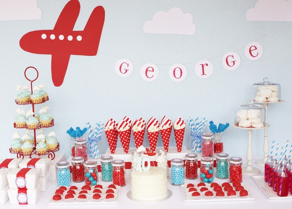 dessert table and backdrop  Vintage Airplane Party  Pinterest