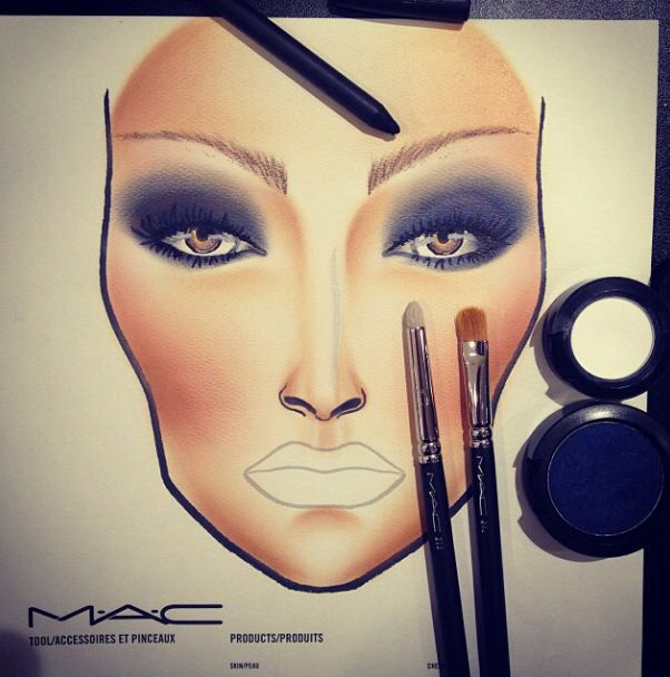 MAC makeup chart // navy eyes