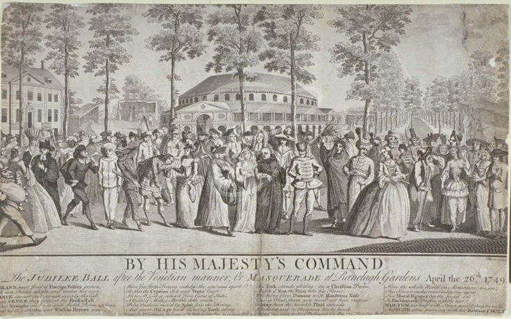 View of the Jubilee Venetian masquerade ball in Ranelagh Gardens, Chelsea, 1749