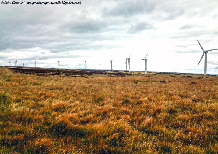 Ovenden Moor windfarm can be seen high above Halifax and features a small single track road linking with Oxenhope. The area is also known locally as Top Withins and is where the moors of Ovenden and Warley meet. Fly Flatts Reservoir can also be found here. View my blog at www.colingreenphotography.blogspot.co.uk.