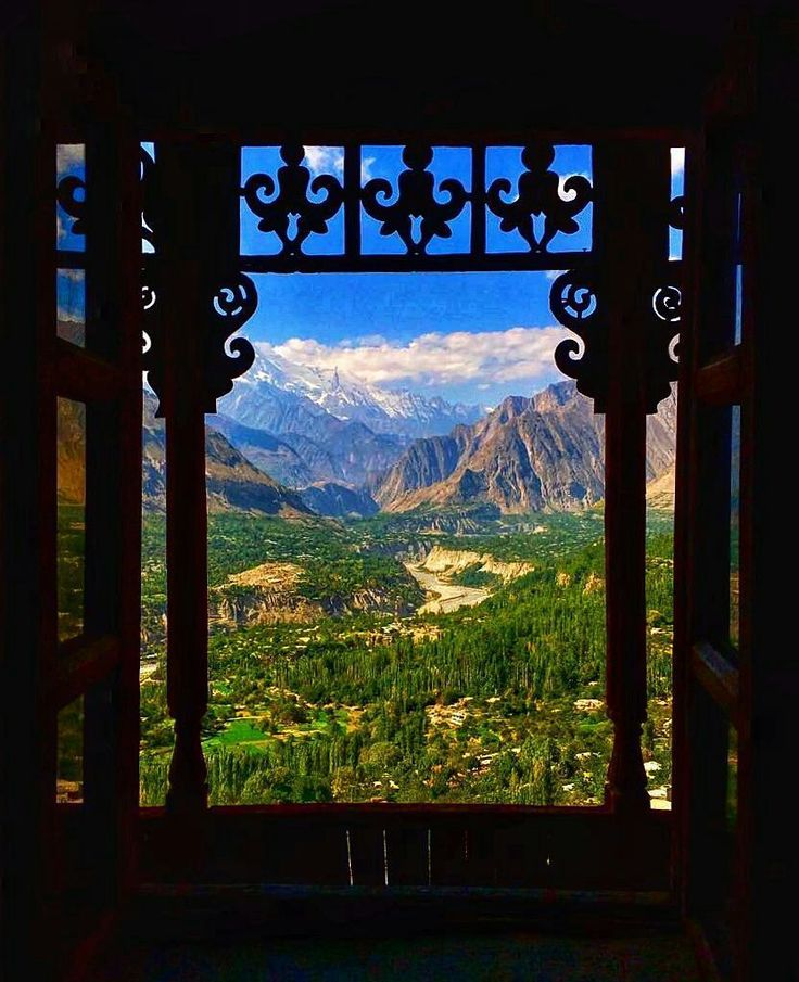 Hunza & Nagar valleys seen from a window of Baltit Fort in Karimabad