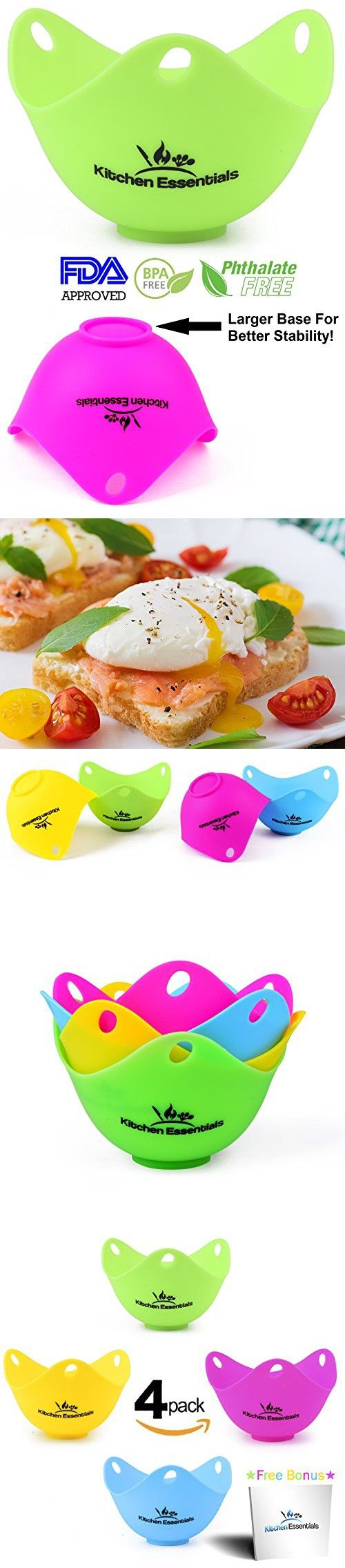Kitchen Essentials Silicone Egg Poachers - New Easy Release Matte Design (4 Pack), Large Premium Silicone Egg Poacher Cups, Silicone Egg Cups Cookware for Making Perfect Poached Eggs in Just Minutes