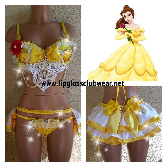 Beauty and the Beast Belle Inspired Rave Bra & Bottom, Rave Costume Outfit For EDC, Ultra Music, EDM Festivals, Tomorrowland, PLUR