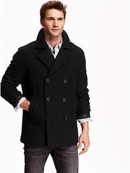 Black Navy Pea Coat - JacketIn