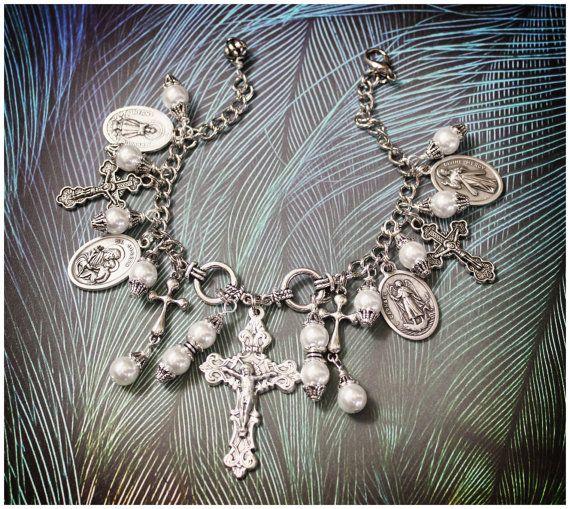 Religious Jewelry  Charm Bracelet  Religious by AngelaVenArtwork