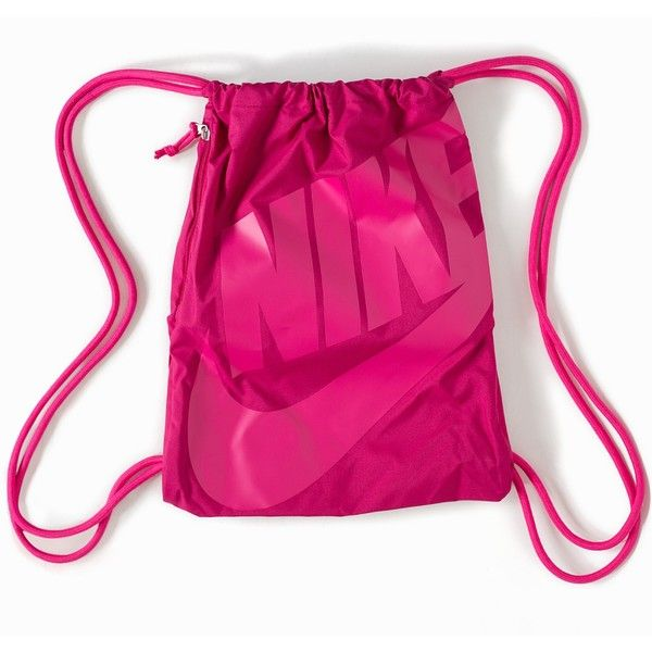 Nike Heritage Age Gymsack ($28) ❤ liked on Polyvore featuring bags, handbags, accessories, fuchsia, womens-fashion, nike purse, logo bags, logo handbags, nike and purse