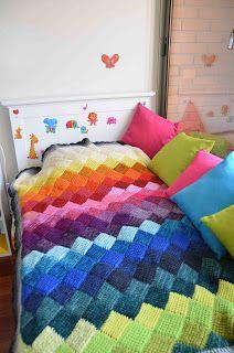 SOLO TEJIDOS: Manta Crochet rombos tunecino, Afghan Crochet Tunisian