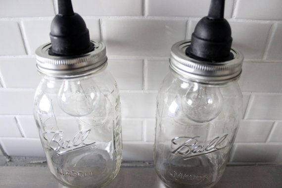 Set of 2 Hanging Large Mason Jar pendent lights Pair by HanorManor