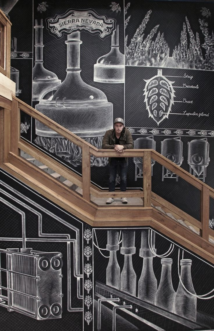 Toronto-based designer Ben Johnston was asked to create a mural for the new Sierra Nevada brewery in Asheville, North Carolina. It was created over 3 weeks and showing the process of beer making. The size of the mural was 1600 sq ft and created using only Sharpie China Markers with the aid of scaffolding.
