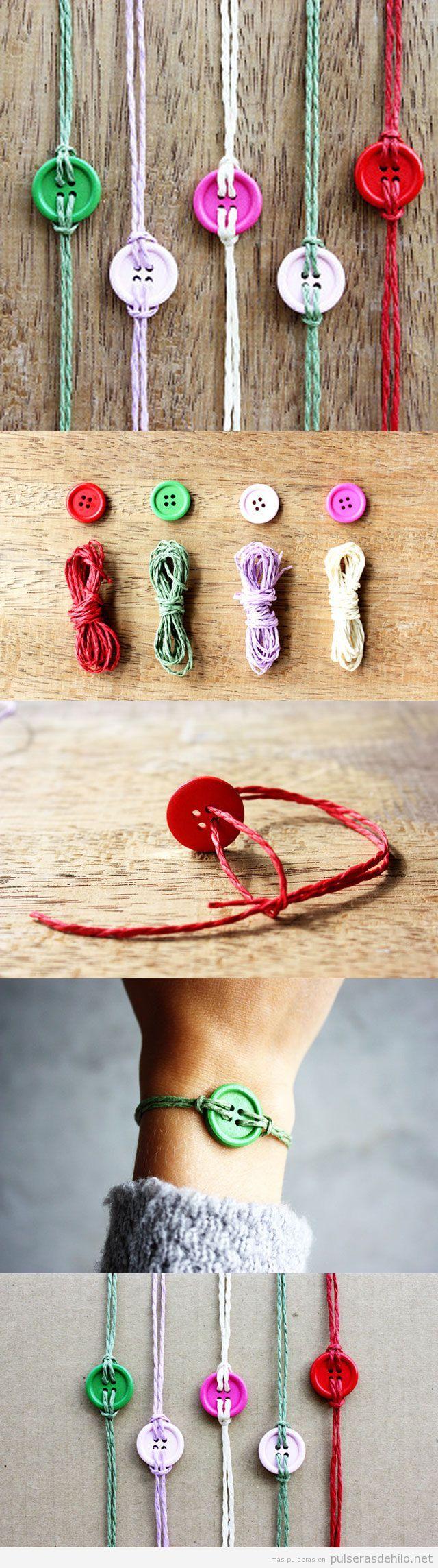 Tutorial pulsera hecha con cuerdas y botones, paso a paso